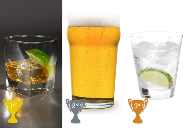 tequila on the rocks, light beer, gin and tonic