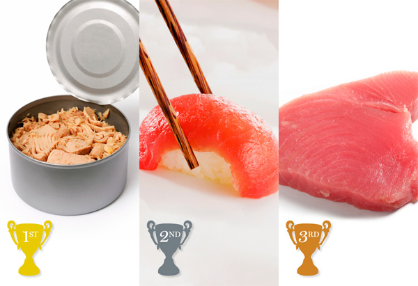 canned tuna, sushi-grade tuna, tuna steak