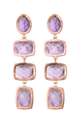 amethyst and rose gold earrings