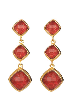 red resin earrings
