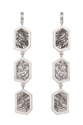 quartz and sterling silver earrings