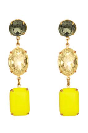 smoky quartz, citrine and yellow glass earrings