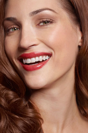 woman wearing red lipstick