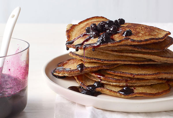 poached blueberry pancakes