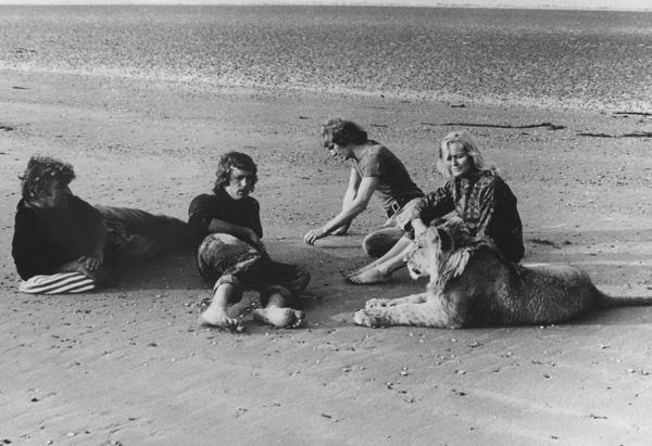 Christian the Lion with Bill Travers, John Rendall, Ace Berg, and Virginia McKenna at the beach