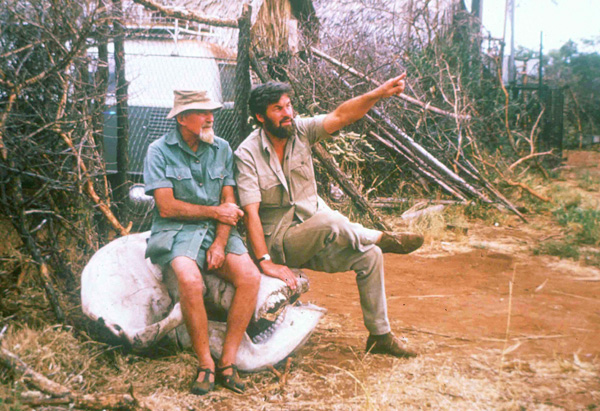 George Adamson and Bill Travers in Meru, Kenya