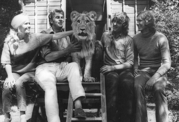 Virginia, Bill, Christian the lion, John and Ace outside the caravan in Surrey