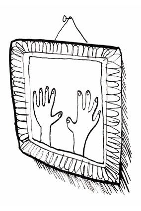 hands in picture frame