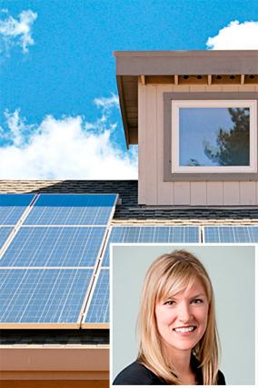 Entrepreneur Lynn Jurich and solar panels