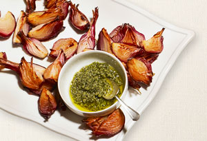 roasted red onions with sage pesto