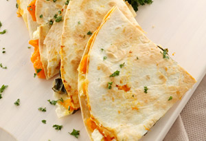peach and brie quesadilla