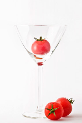 Tomato in a glass goblet