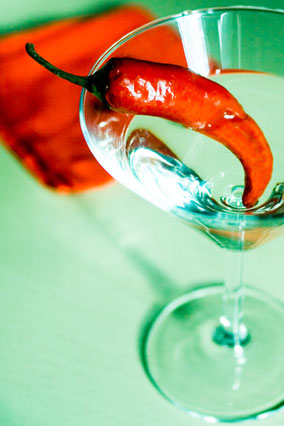 Martini with hot pepper