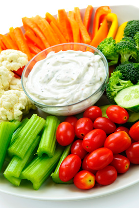 Vegetable platter with dip