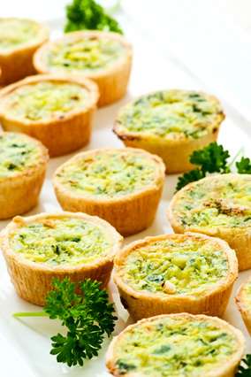 Mini vegetable quiches and appetizers