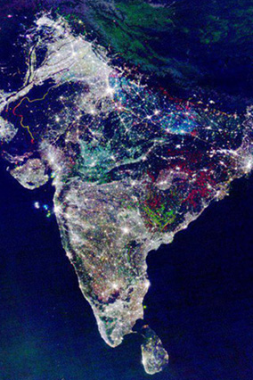 Indian Diwali lights from space