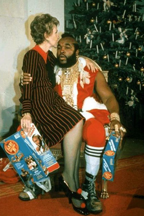 Nancy Reagan and Mr. T as Santa