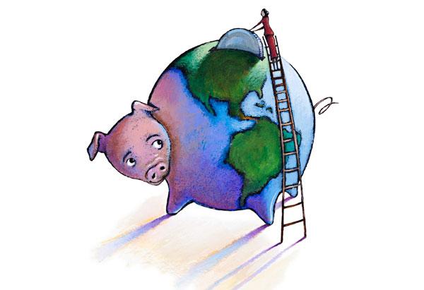 Woman climbing ladder to piggy bank