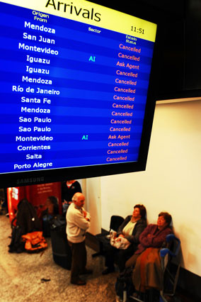 Canceled flights at airport