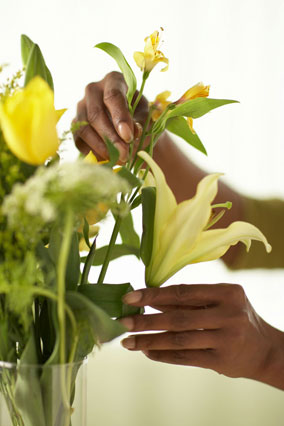 Woman's hand arranging flowers in vase