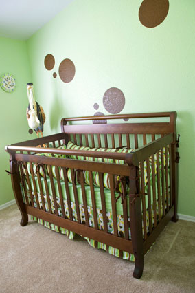 Crib in baby nursery