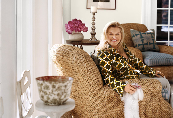 Mindy Grossman in sunroom with dog