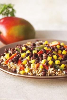 Black beans, rice and mango