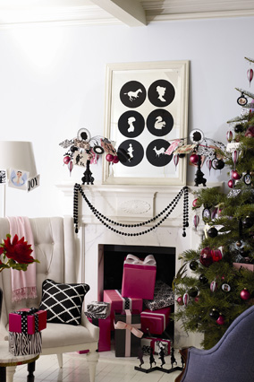 black and pink christmas decorations
