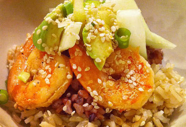 shrimp over brown rice
