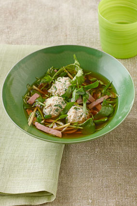 Chicken and Watercress Soup with Ginger and Smoked Ham