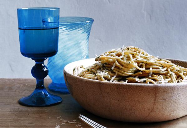 Whole Wheat Spaghetti with Caper Pesto Sauce