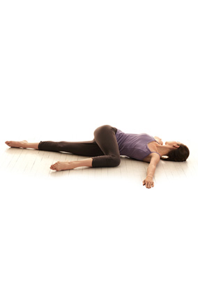 Lying-down easy twist yoga pose