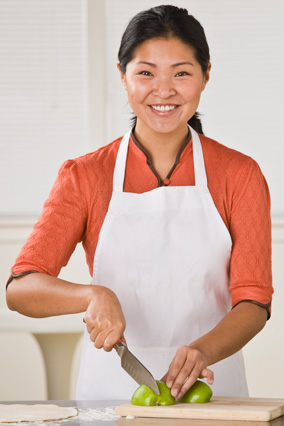 Woman taking a cooking class