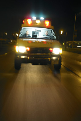 Ambulance driving at night