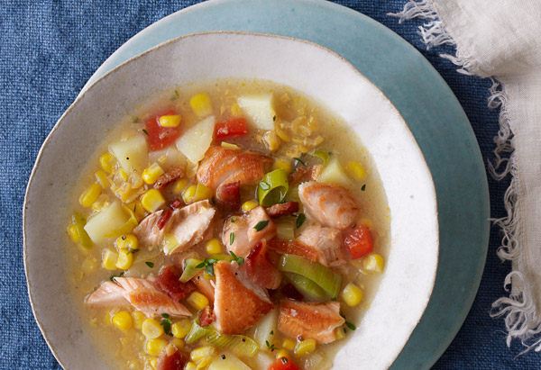 Salmon and Creamed Corn Chowder