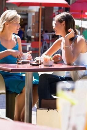 Two women in deep conversation