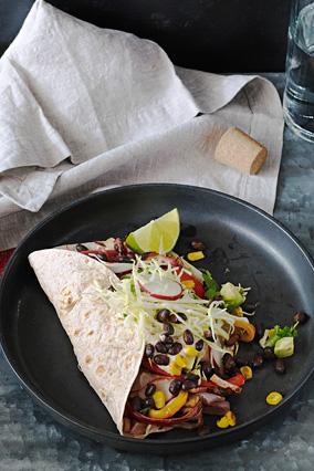 Vegetable Tacos with Chipotle Sour Cream and Smoky Black Beans