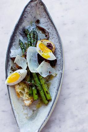 Asparagus with Farm-Fresh Eggs and Dry Jack Cheese