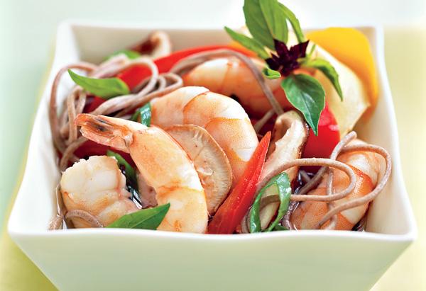 Basil-Steamed Shrimp over Buckwheat Soba Noodles