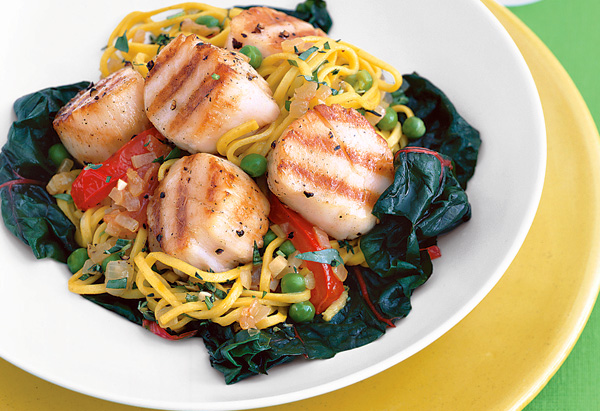 Grilled Sea Scallops with Saffron Spaghetti, Vegetables and Fresh Herbs