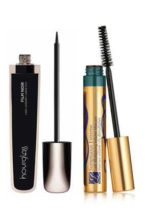 Hourglass Film Noir Lash Lacquer and Estée Lauder Sumptuous Extreme Lash Multiplying Volume Mascara in Extreme Teal