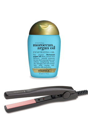 Remington T Studio Pearl Ceramic Straightini and Organix Renewing Moroccan Argan Oil Penetrating Oil