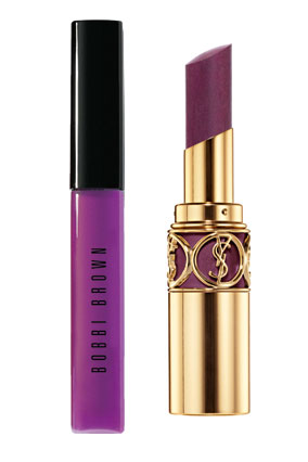 Bobbi Brown Sheer Color Lip Gloss in Ultra Violet and Yves Saint Laurent Silky Sensual Radiant Lipstick SPF 15 in Spellbinding Violet