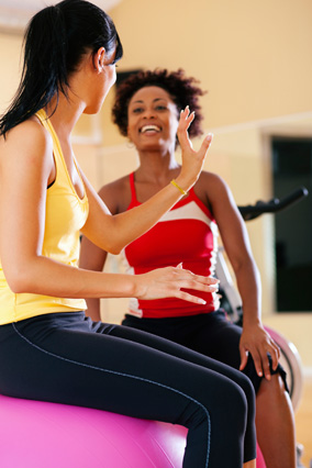 Women chat between exercise