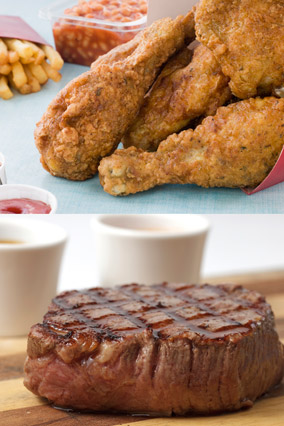 Southern fried chicken and steak dinner