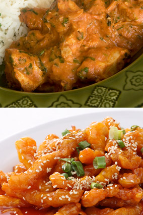 India chicken tikka masala and Chinese orange chicken with rice