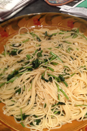 Pasta with White Wine and Watercress