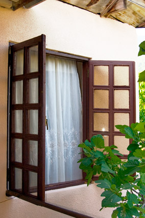Open windows of a house