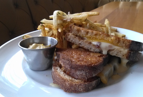 Grilled Cheese with Sharp Cheddar, Taleggio and Bacon Marmalade
