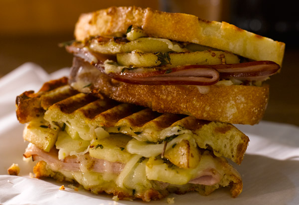 Ham, Gruyere, and Apple Panini